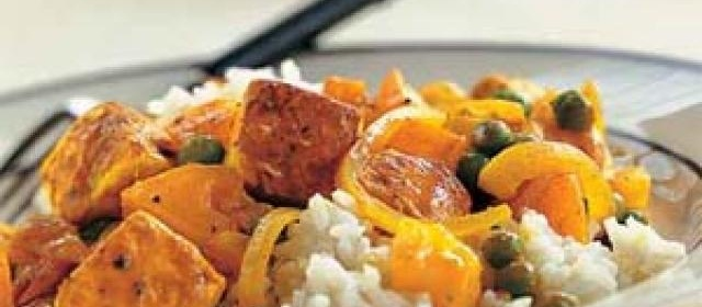 Tofu with Red Curry Paste, Peas, and Yellow Tomatoes Recipe ...
