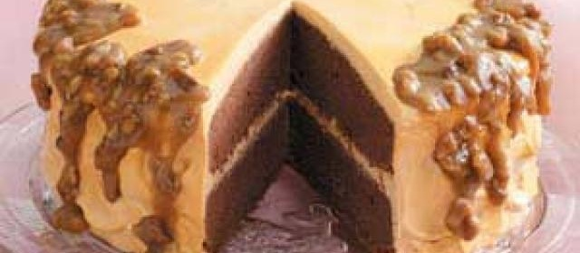 Chocolate Caramel Cake with Butterscotch Frosting