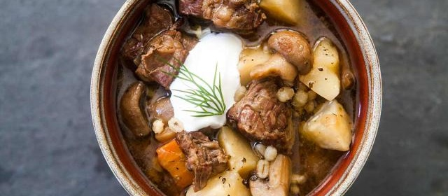 Beef and Barley Stew with Mushrooms Recipe