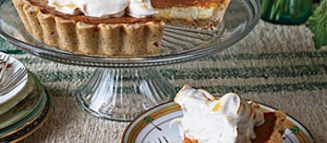 Pumpkin Cheesecake Tart with Honey Swiss Meringue Recipe ...