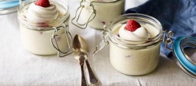 Lemon-Vanilla Bean Posset with Raspberries