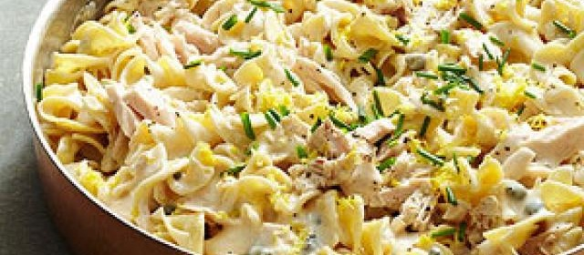 Lemon Caper Tuna and Noodles with Alfredo
