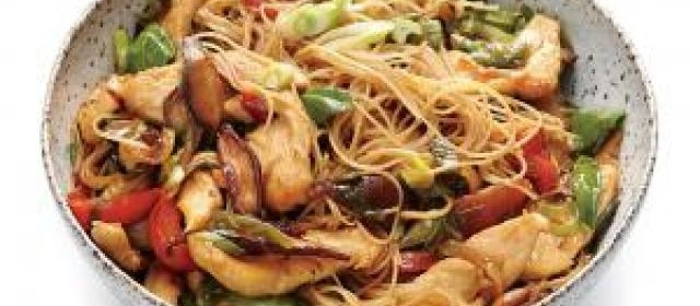 Chicken and Rice Noodle Stir-Fry with Ginger and Basil Recipe ...
