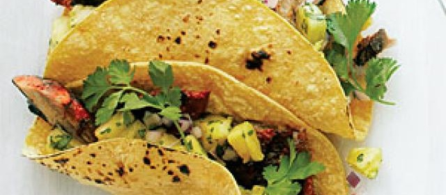 Grilled Sardine Tacos with Achiote, Lime, and Pineapple Salsa Recipe