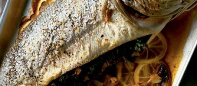 Baked sea bass with lemon & herbs (with Tarator sauce)