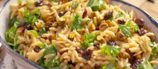 Orzo Salad with Mustard Greens and Dried Cherries