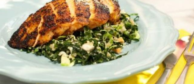 Chile-Rubbed Chicken Breast with Kale, Quinoa and Brussels ...