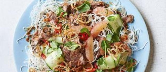 Asian lamb & grapefruit noodle salad with ginger dressing