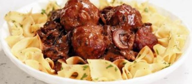 Veal and Pork Meatballs with Mushroom Gravy and Egg Noodles ...