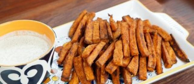 Oven-Baked Sweet Potato Fries with Homemade Ranch Dressing ...