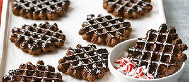 Chocolate-Peppermint Waffle Cookies