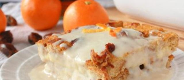 Bread Pudding with Dates and Orange Whiskey Sauce