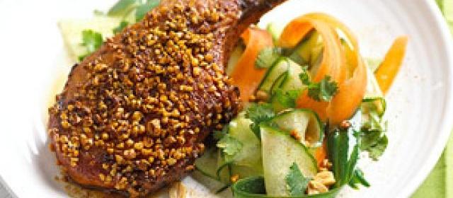 Chili-Peanut Pork Chops with Carrot-Cucumber Salad