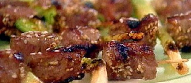 Sesame Beef and Scallion Kebabs