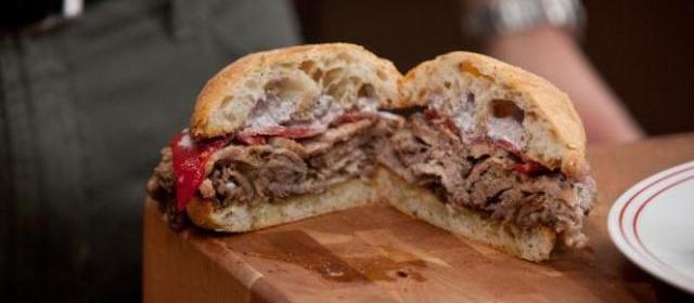 Roasted Pork-etta On Ciabatta with Gre-mayo-lata Aioli and Pequillo ...