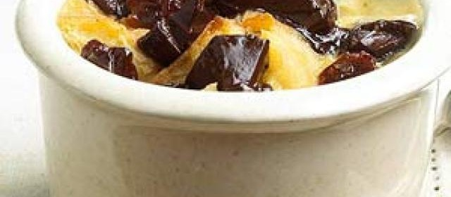Bread Pudding with Chocolate and Brandied Cherries