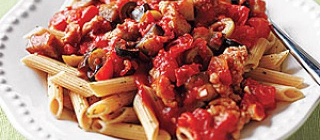 Whole-Wheat Penne with Sausage, Eggplant and Olives Recipe ...