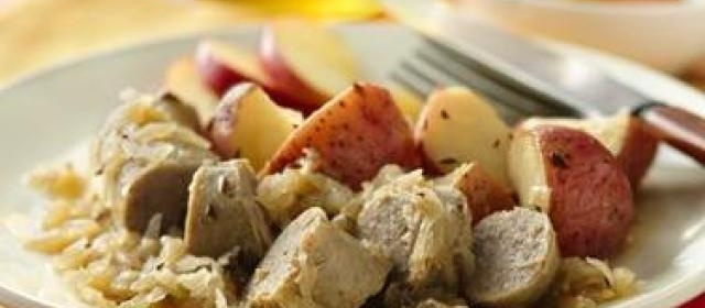 Turkey Brats with Potatoes and Sauerkraut