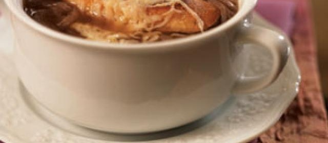 Onion Soup with Cheese Crostini