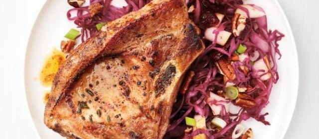 Pork Chops with Pear-Pecan Slaw Recipe | Food Network Kitchen ...