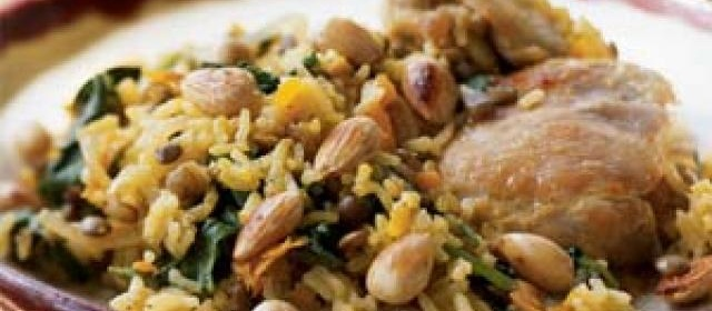 Chicken and Basmati Rice Pilau with Saffron, Spinach, and ...