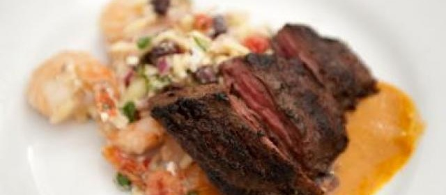 Grilled Skirt Steak with Sweet Roasted Tomato Sauce and Roasted ...