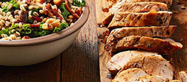 Garlic Pork with Kale and Walnut Barley