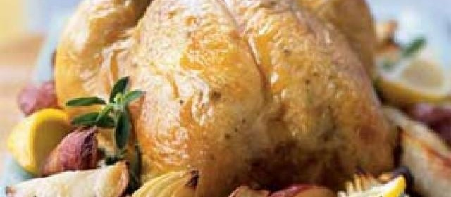 Roasted Chicken with Onions, Potatoes, and Gravy Recipe ...