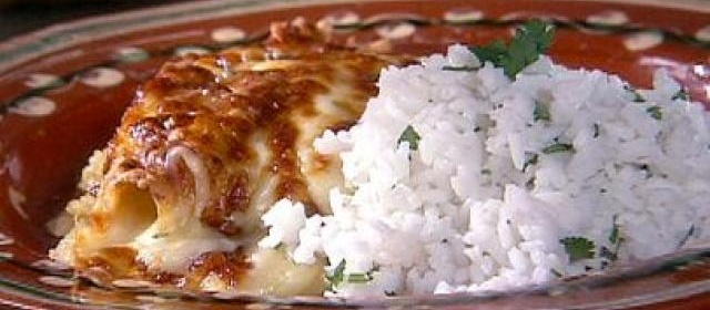 Chicken Enchiladas with Green Sauce and Long-Grain Rice Recipe ...