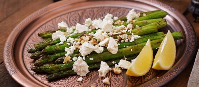 Roasted Asparagus With Lemon, Feta, and Pistachios